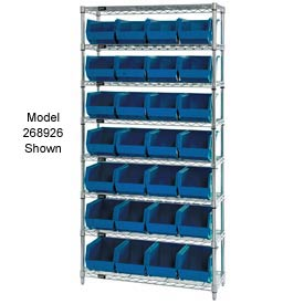 Quantum WR7-245 Chrome Wire Shelving With 24 Giant Plastic Stacking Bins Blue, 36x12x74