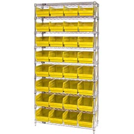 "Quantum WR9-207 Chrome Wire Shelving with 32 6""H Plastic Shelf Bins Yellow, 36x12x74"