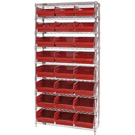 "Quantum WR9-209 Chrome Wire Shelving with 24 6""H Plastic Shelf Bins Red, 36x12x74"