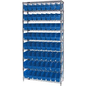 "Quantum WR9-203 Chrome Wire Shelving with 64 6""H Plastic Shelf Bins Blue, 36x18x74"