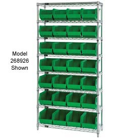 Quantum WR7-245 Chrome Wire Shelving With 24 Giant Plastic Stacking Bins Green, 36x12x74