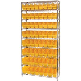 "Quantum WR9-205 Chrome Wire Shelving with 64 6""H Plastic Shelf Bins Yellow, 36x24x74"