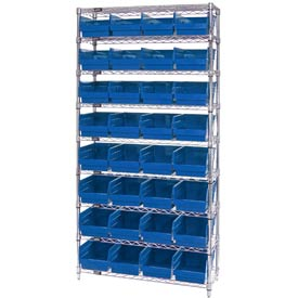 "Quantum WR9-214 Chrome Wire Shelving with 32 6""H Plastic Shelf Bins Blue, 36x24x74"