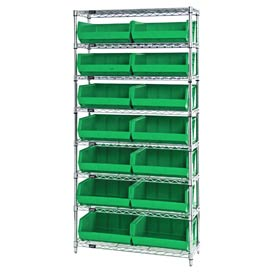 Chrome Wire Shelving With 14 Giant Plastic Stacking Bins Green, 36x14x74