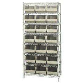 Quantum WR8-255 Chrome Wire Shelving With 21 Giant Plastic Stacking Bins Ivory, 36x18x74