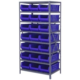 "Quantum 2475-952 Steel Shelving with 21 24""D Hulk Hopper Bins Blue, 24x36x75"
