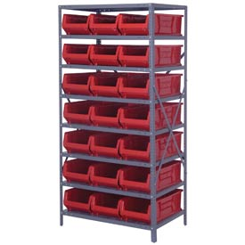"Quantum 2475-952 Steel Shelving with 21 24""D Hulk Hopper Bins Red, 24x36x75"