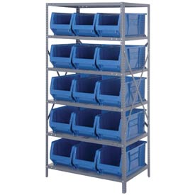 "Quantum 2475-953 Steel Shelving with 15 24""D Hulk Hopper Bins Blue, 24x36x75"