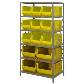 "Quantum 2475-953954 Steel Shelving with 13 24""D Hulk Hopper Bins Yellow, 24x36x75"