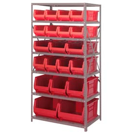 "Quantum 2475-20-MIX Steel Shelving with 20 24""D Hulk Hopper Bins Red, 24x36x75"