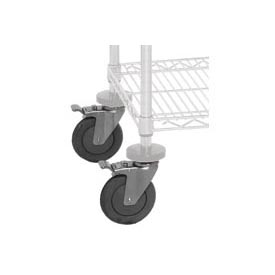Quantum WR-00H Caster Kit For Chrome Wire Shelving 4 Swivel With 2 Brakes