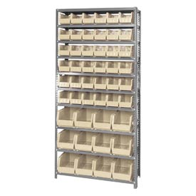 Quantum QSBU-230240 Steel Shelving With 48 Giant Stacking Bins Ivory, 12x36x75