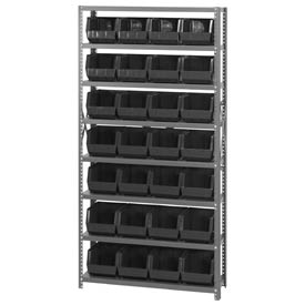 Quantum QSBU-239 Steel Shelving With 28 Giant Stacking Bins Black, 12x36x75