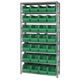 Quantum QSBU-240 Steel Shelving With 28 Giant Stacking Bins Green, 12x36x75