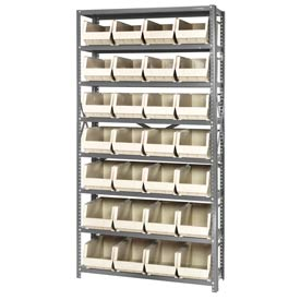 Quantum QSBU-240 Steel Shelving With 28 Giant Stacking Bins Ivory, 12x36x75