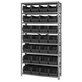 Quantum QSBU-240 Steel Shelving With 28 Giant Stacking Bins Black, 12x36x75
