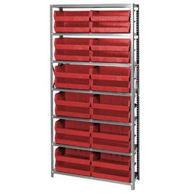 Quantum QSBU-245 Steel Shelving With 24 Giant Stacking Bins Red, 12x36x75