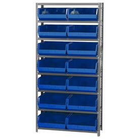 Quantum QSBU-250 Steel Shelving With 14 Giant Stacking Bins Blue, 12x36x75