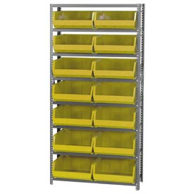 Quantum QSBU-250 Steel Shelving With 14 Giant Stacking Bins Yellow, 12x36x75