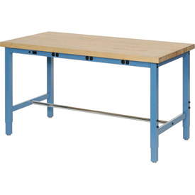 "72""W x 24""D Production Workbench with Power Apron - Maple Butcher Block Square Edge - Blue"