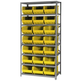 Quantum QSBU-255 Steel Shelving With 21 Giant Stacking Bins Yellow, 18x36x75