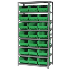 Quantum QSBU-255 Steel Shelving With 21 Giant Stacking Bins Green, 18x36x75