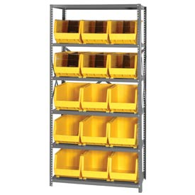 Quantum QSBU-260 Steel Shelving With 15 Giant Stacking Bins Yellow, 18x36x75