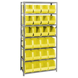 Quantum QSBU-265 Steel Shelving With 24 Giant Stacking Bins Yellow, 18x36x75