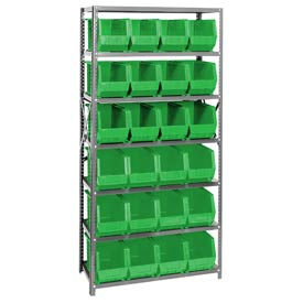 Quantum QSBU-265 Steel Shelving With 24 Giant Stacking Bins Green, 18x36x75