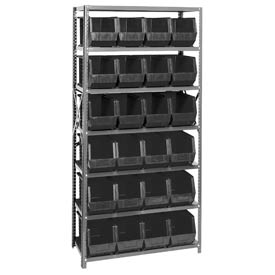 Quantum QSBU-265 Steel Shelving With 24 Giant Stacking Bins Black, 18x36x75