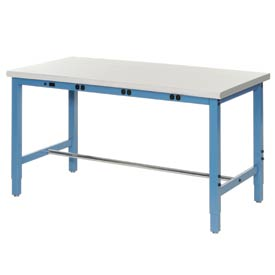 "60""W x 36""D Production Workbench with Power Apron - Plastic Laminate Safety Edge - Blue"