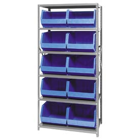 Quantum QSBU-270 Steel Shelving With 10 Giant Stacking Bins Blue, 18x36x75