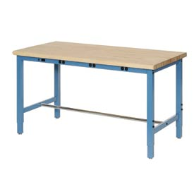 "72""W x 30""D Production Workbench with Power Apron - Maple Butcher Block Safety Edge - Blue"