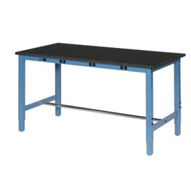 """72""""W x 30""""D Production Workbench with Power Apron - Phenolic Resin Safety Edge - Blue"""