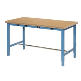 "60""W x 30""D Production Workbench with Power Apron - Shop Top Safety Edge - Blue"