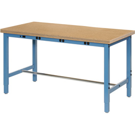 "96""W x 36""D Production Workbench with Power Apron - Shop Top Square Edge - Blue"