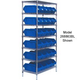 Quantum W7-12-30 Chrome Wire Shelving With 30 QuickPick Double Open Bins Blue, 18x36x74