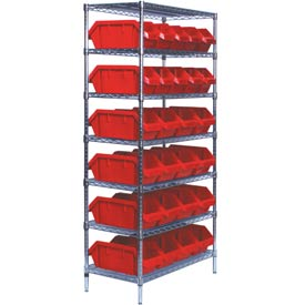Quantum W7-12-26 Chrome Wire Shelving With 26 QuickPick Double Open Bins Red, 18x36x74