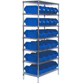 Quantum W7-12-26 Chrome Wire Shelving With 26 QuickPick Double Open Bins Blue, 18x36x74