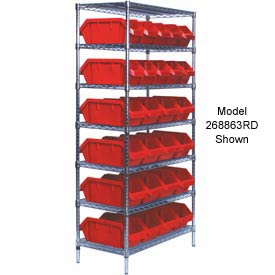 Quantum W7-12-28 Chrome Wire Shelving With 28 QuickPick Double Open Bins Red, 18x36x74