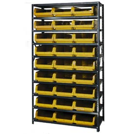 Quantum MSU-531 Steel Shelving With 27 Magnum Giant Hopper Bins Yellow, 18x42x75