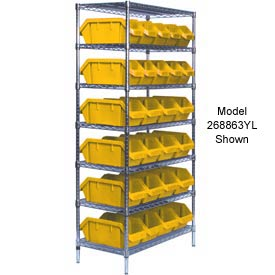 Quantum W7-18-30 Chrome Wire Shelving With 30 QuickPick Double Open Bins Yellow, 18x36x74