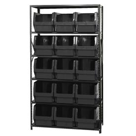 Quantum MSU-533 Steel Shelving With 15 Magnum Giant Hopper Bins Black, 18x42x75