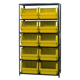 Quantum MSU-543 Steel Shelving With 10 Magnum Giant Hopper Bins Yellow, 18x42x75