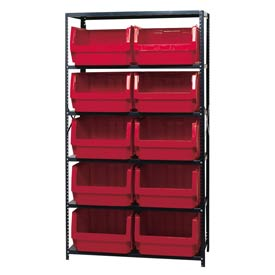 Quantum MSU-543 Steel Shelving With 10 Magnum Giant Hopper Bins Red, 18x42x75