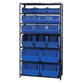 Quantum MSU-16-MIX Steel Shelving With 16 Magnum Giant Hopper Bins Blue, 18x42x75