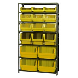 Quantum MSU-16-MIX Steel Shelving With 16 Magnum Giant Hopper Bins Yellow, 18x42x75