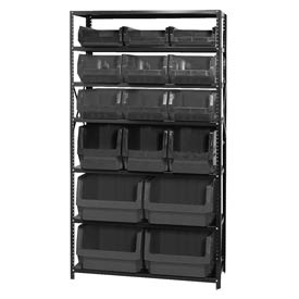 Quantum MSU-16-MIX Steel Shelving With 16 Magnum Giant Hopper Bins Black, 18x42x75