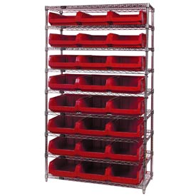 Quantum WR9-531 Chrome Shelving With 24 Magnum Giant Hopper Bins Red, 18x42x74