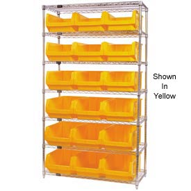 Quantum WR7-532 Chrome Shelving With 18 Magnum Giant Hopper Bins Blue, 18x42x74